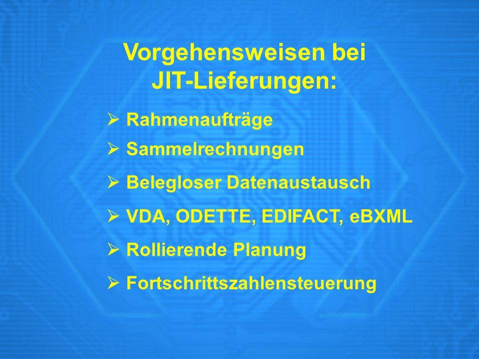 Vorgehensweisen bei JIT-Lieferungen: Rahmenaufträge Sammelrechnungen Belegloser Datenaustausch VDA, ODETTE, EDIFACT, eBXML Rollierende Planung Fortsch