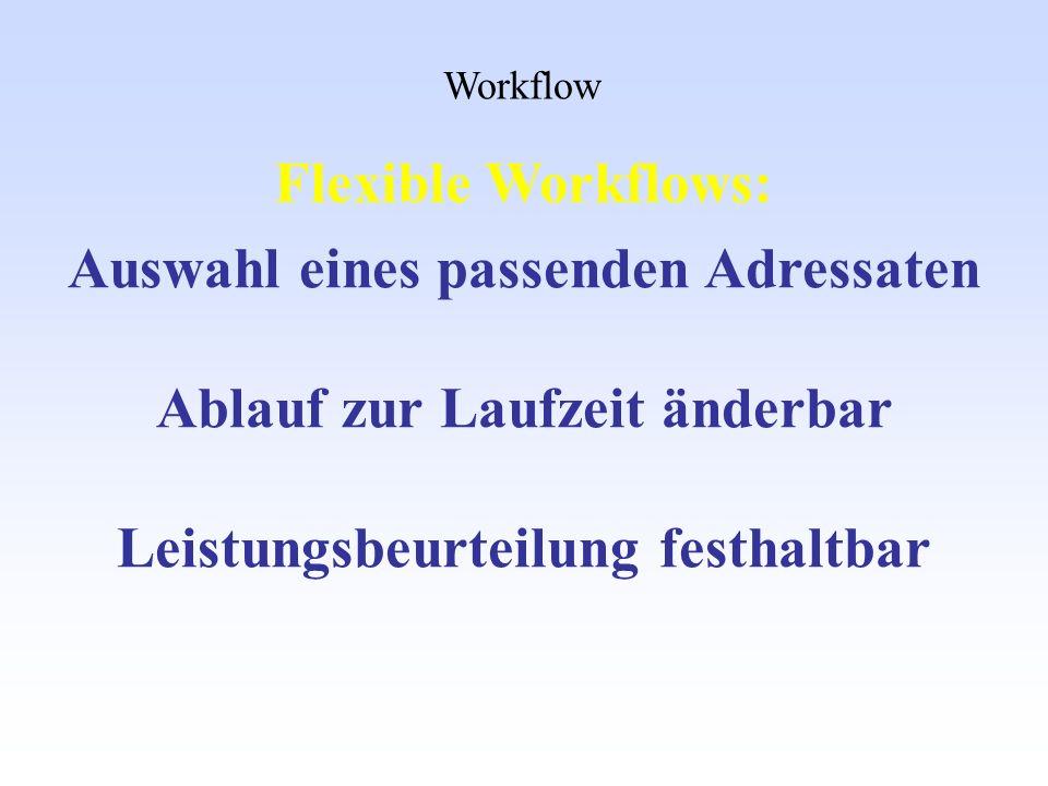 Workflow Auswahl eines passenden Adressaten Ablauf zur Laufzeit änderbar Leistungsbeurteilung festhaltbar Flexible Workflows:
