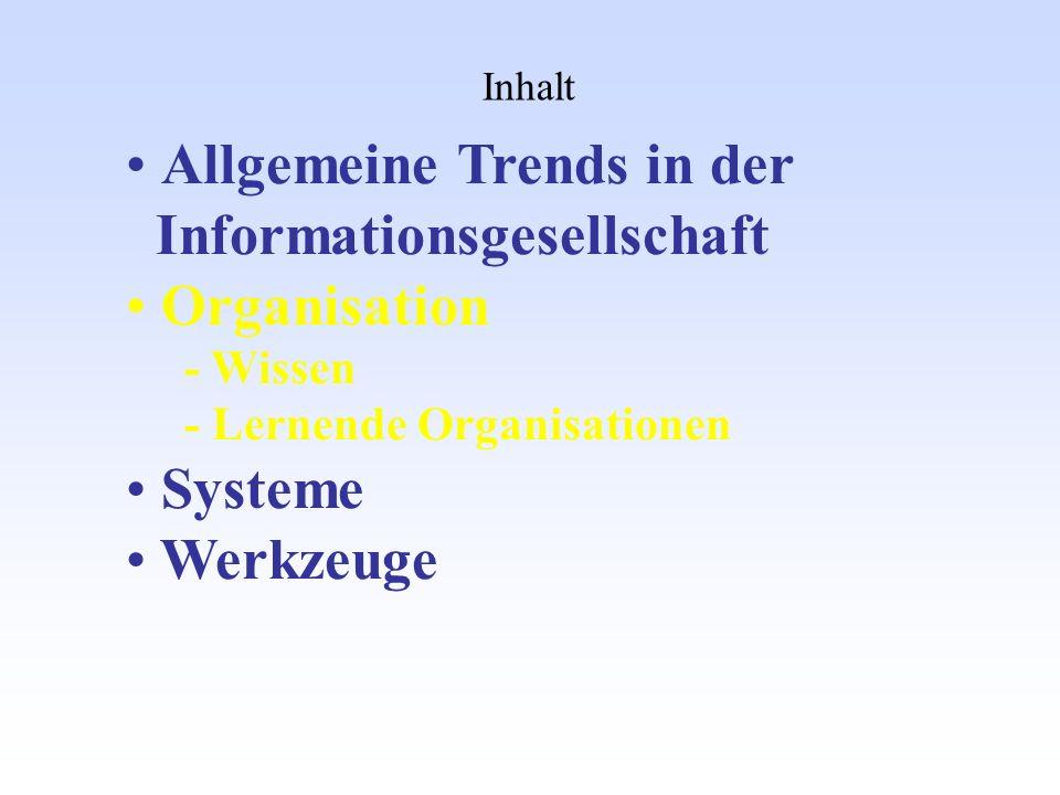 Inhalt Allgemeine Trends in der Informationsgesellschaft Organisation - Wissen - Lernende Organisationen Systeme Werkzeuge