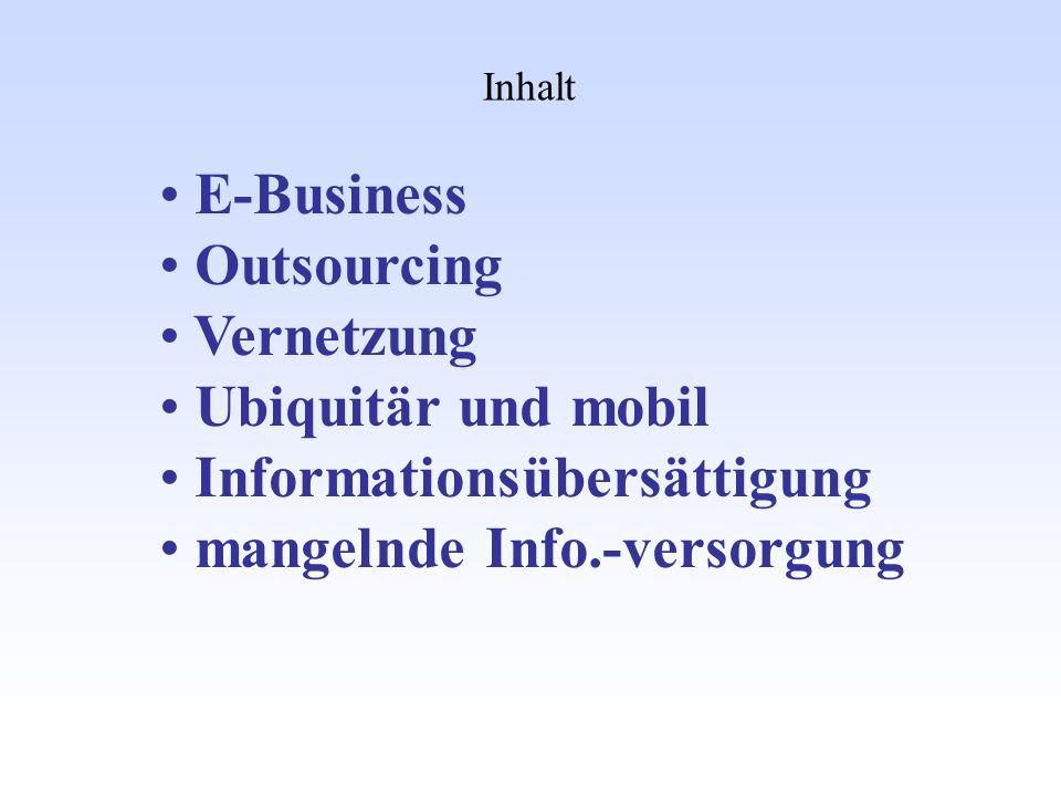 Inhalt E-Business Outsourcing Vernetzung Ubiquitär und mobil Informationsübersättigung mangelnde Info.-versorgung