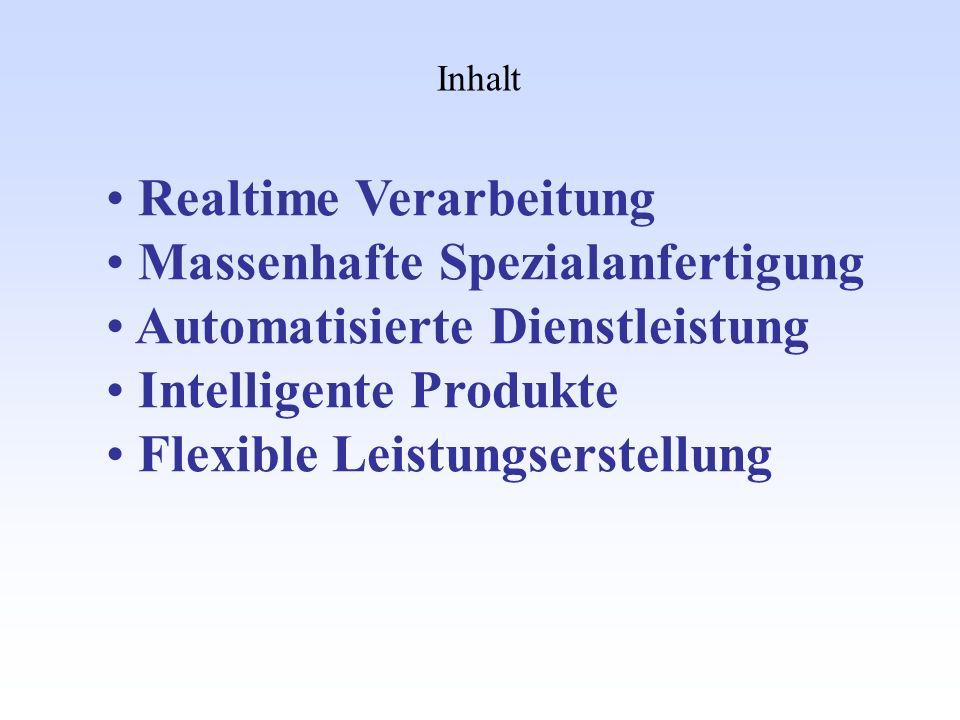 Inhalt Realtime Verarbeitung Massenhafte Spezialanfertigung Automatisierte Dienstleistung Intelligente Produkte Flexible Leistungserstellung