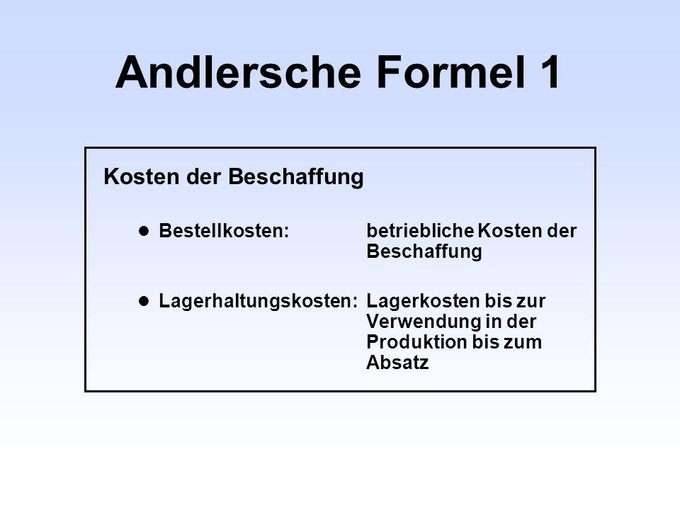 Andlersche Formel 1 Kosten der Beschaffung Bestellkosten:betriebliche Kosten der Beschaffung Lagerhaltungskosten:Lagerkosten bis zur Verwendung in der