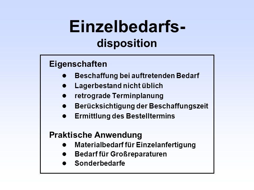 Einzelbedarfs- disposition Eigenschaften Beschaffung bei auftretenden Bedarf Lagerbestand nicht üblich retrograde Terminplanung Berücksichtigung der B