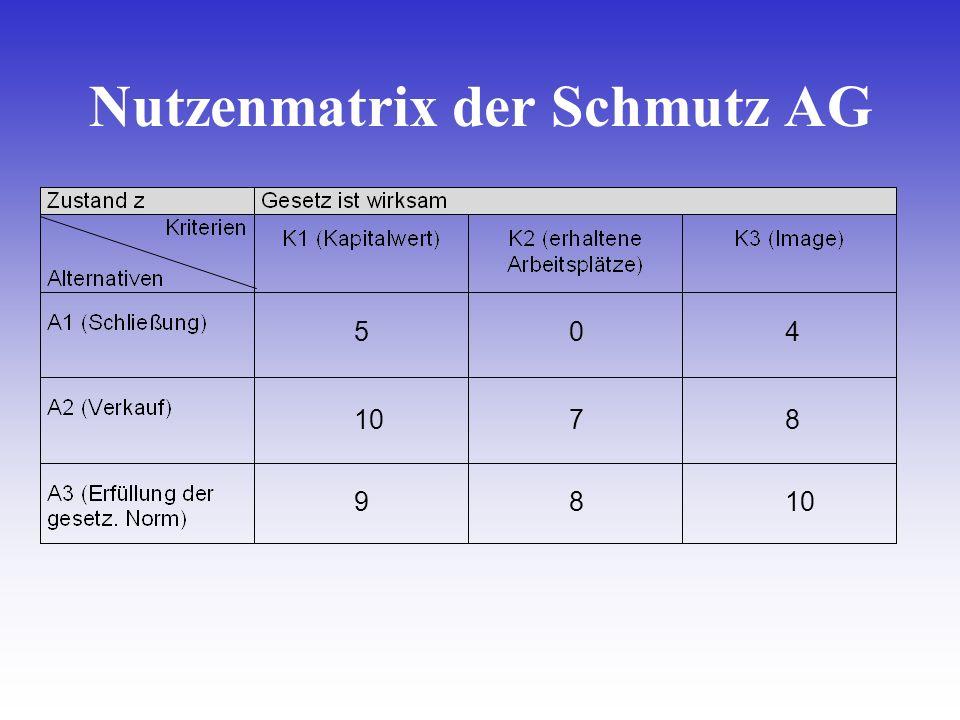 5 10 9 0 7 8 4 8 Nutzenmatrix der Schmutz AG