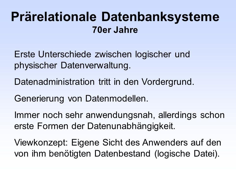 Prärelationale Datenbanksysteme 70er Jahre Erste Unterschiede zwischen logischer und physischer Datenverwaltung. Datenadministration tritt in den Vord