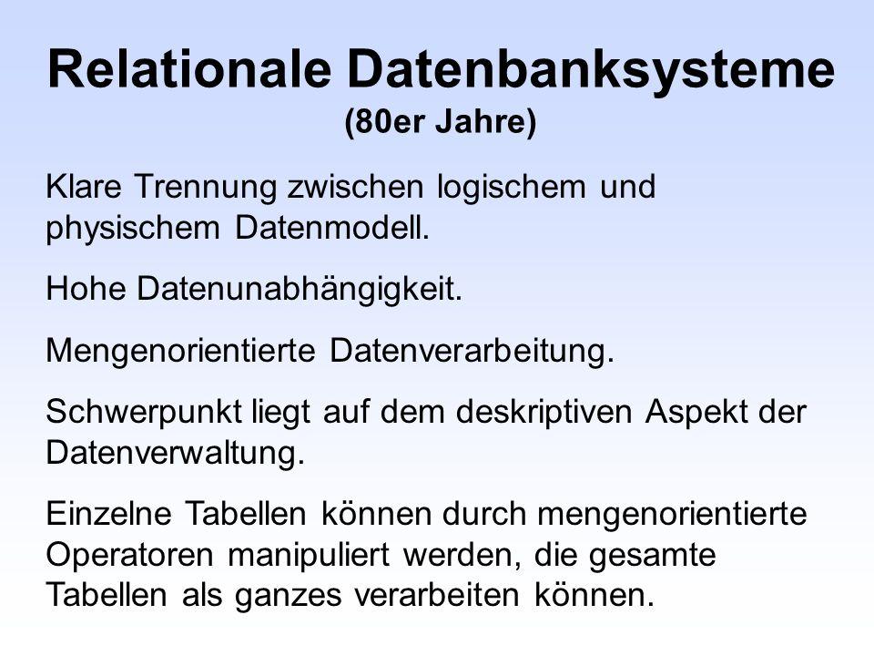 Relationale Datenbanksysteme (80er Jahre) Klare Trennung zwischen logischem und physischem Datenmodell. Hohe Datenunabhängigkeit. Mengenorientierte Da