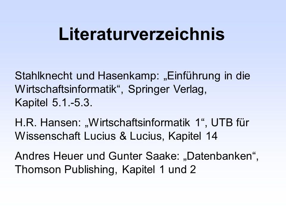 Literaturverzeichnis Stahlknecht und Hasenkamp: Einführung in die Wirtschaftsinformatik, Springer Verlag, Kapitel 5.1.-5.3. H.R. Hansen: Wirtschaftsin