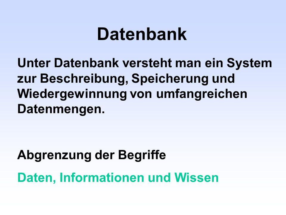 Datenbank Unter Datenbank versteht man ein System zur Beschreibung, Speicherung und Wiedergewinnung von umfangreichen Datenmengen. Abgrenzung der Begr