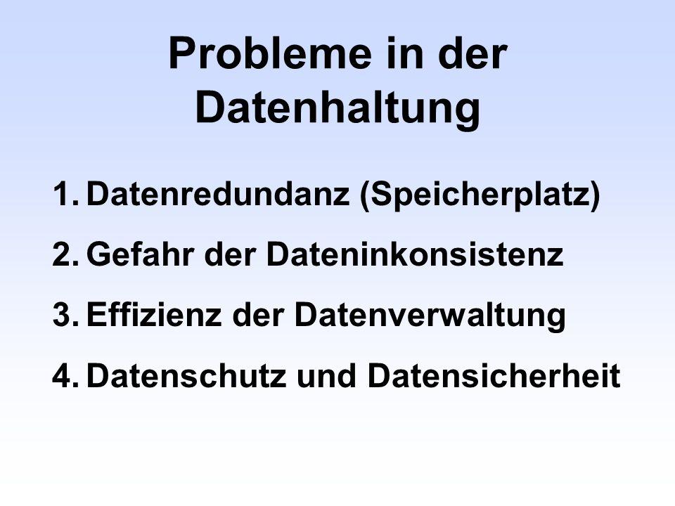Probleme in der Datenhaltung 1.Datenredundanz (Speicherplatz) 2.Gefahr der Dateninkonsistenz 3.Effizienz der Datenverwaltung 4.Datenschutz und Datensi