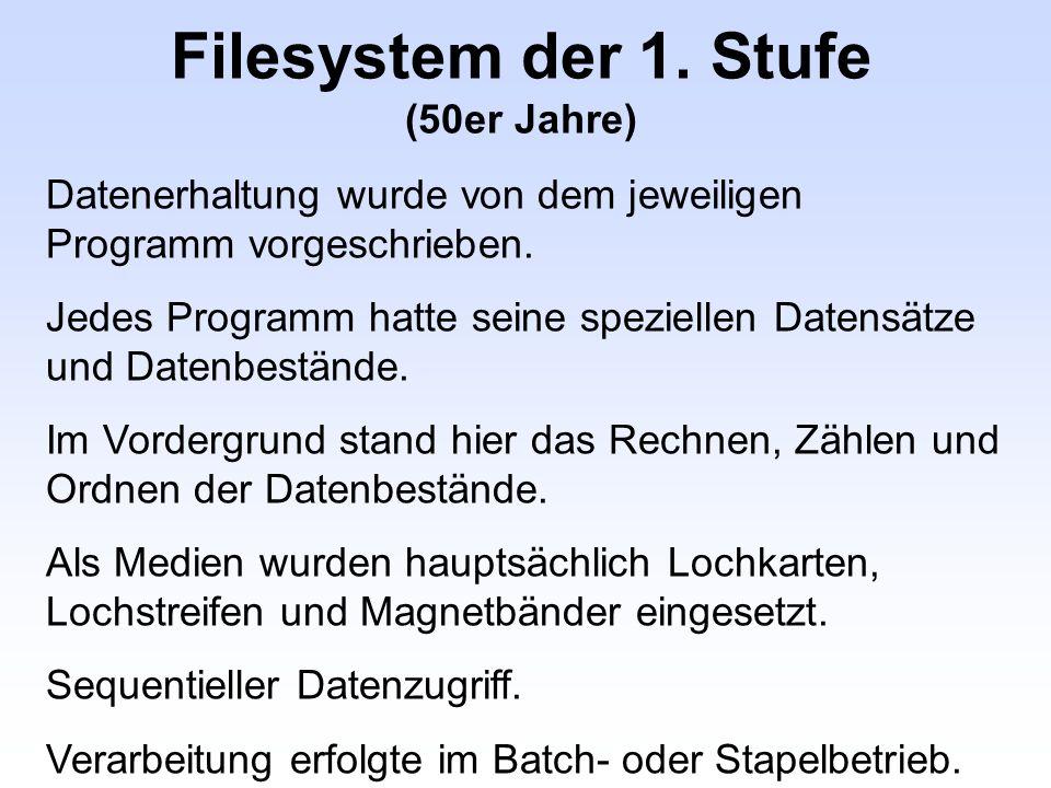 Filesystem der 1. Stufe (50er Jahre) Datenerhaltung wurde von dem jeweiligen Programm vorgeschrieben. Jedes Programm hatte seine speziellen Datensätze