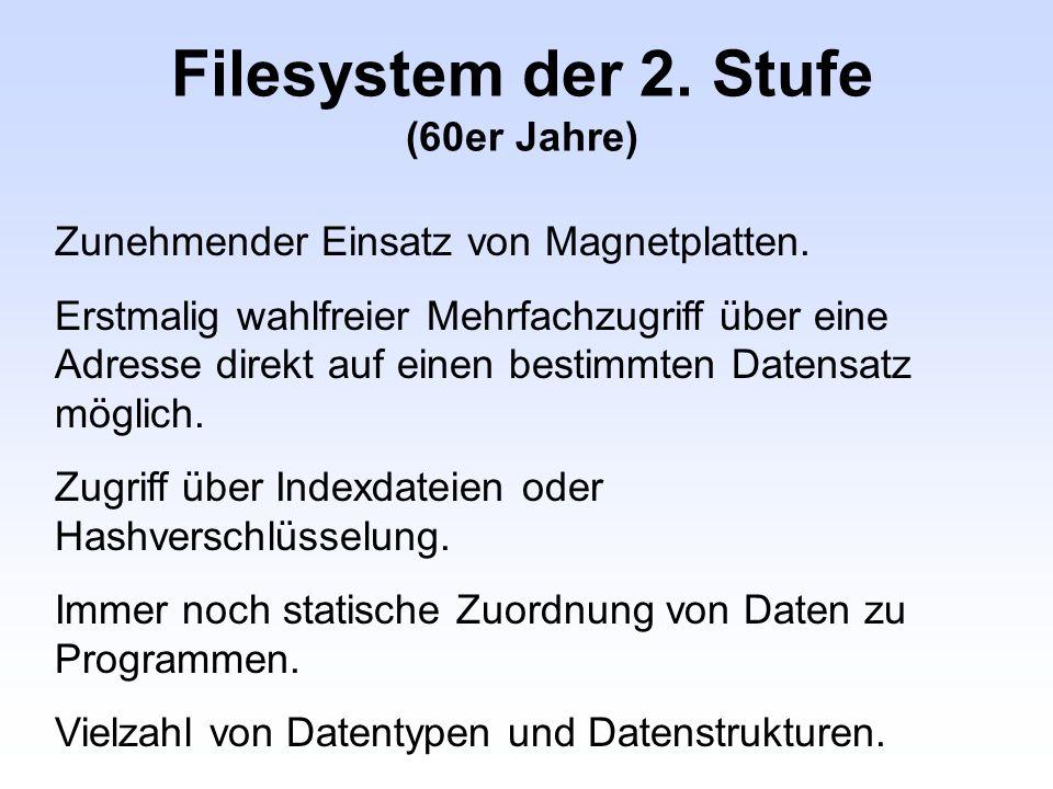Filesystem der 2. Stufe (60er Jahre) Zunehmender Einsatz von Magnetplatten. Erstmalig wahlfreier Mehrfachzugriff über eine Adresse direkt auf einen be
