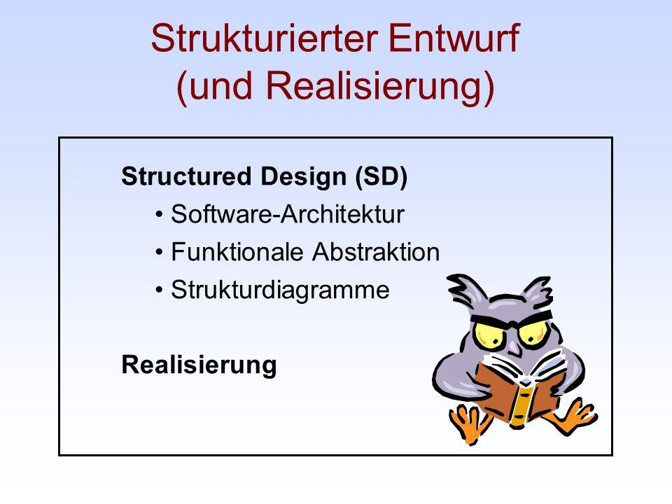 Strukturierter Entwurf (und Realisierung) Structured Design (SD) Software-Architektur Funktionale Abstraktion Strukturdiagramme Realisierung
