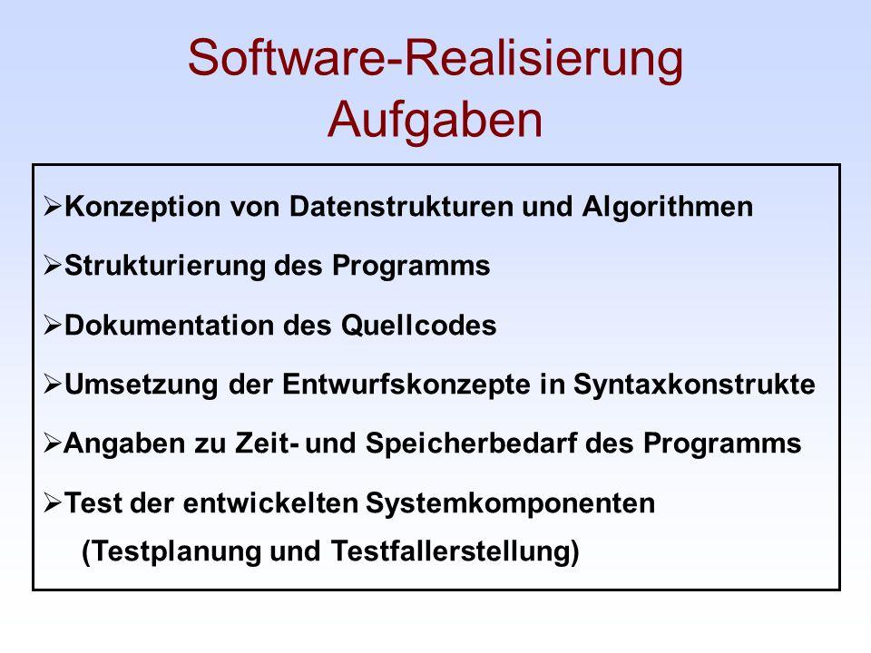Software-Realisierung Aufgaben Konzeption von Datenstrukturen und Algorithmen Strukturierung des Programms Dokumentation des Quellcodes Umsetzung der