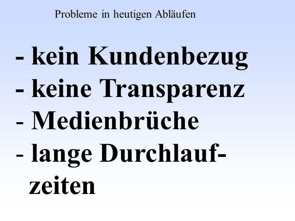 - kein Kundenbezug - keine Transparenz - Medienbrüche - lange Durchlauf- zeiten Probleme in heutigen Abläufen