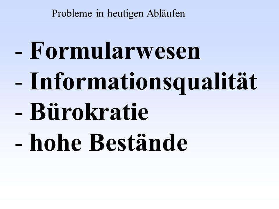 - Formularwesen - Informationsqualität - Bürokratie - hohe Bestände Probleme in heutigen Abläufen