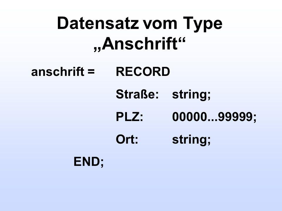Datensatz vom Type Anschrift anschrift =RECORD Straße:string; PLZ:00000...99999; Ort:string; END;