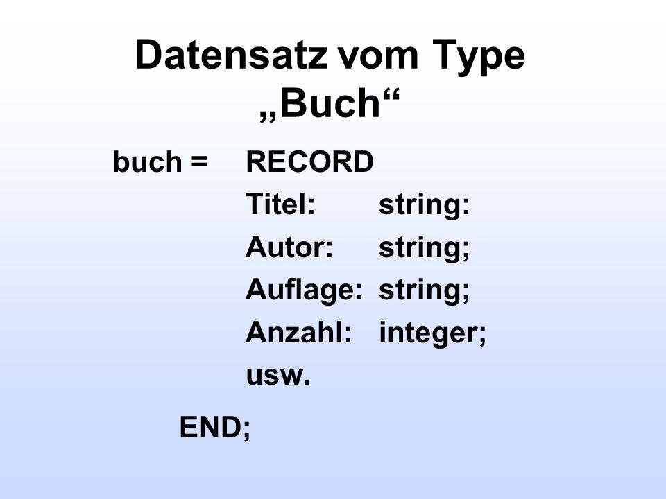Datensatz vom Type Buch buch = RECORD Titel:string: Autor:string; Auflage:string; Anzahl:integer; usw. END;