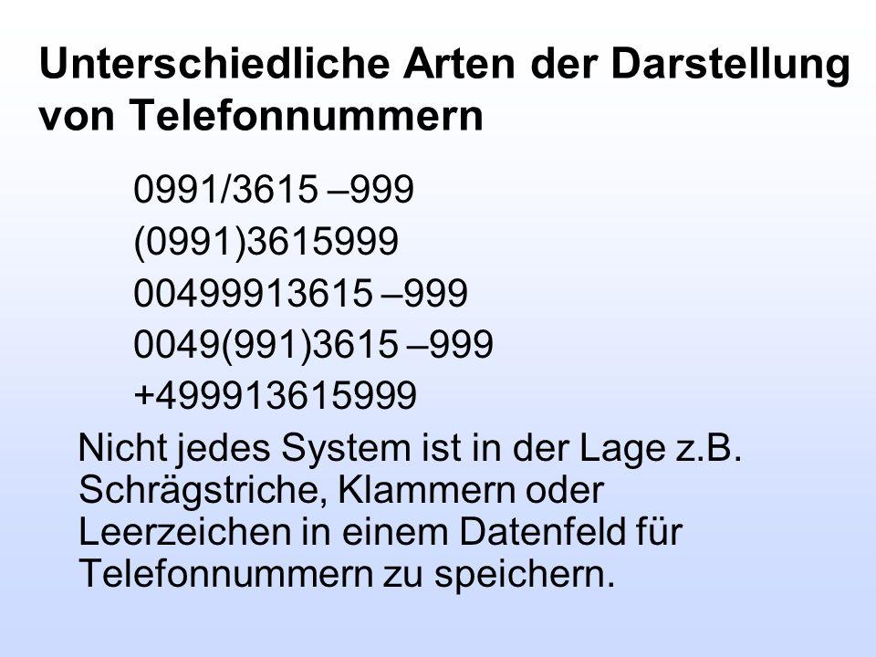 Unterschiedliche Arten der Darstellung von Telefonnummern 0991/3615 –999 (0991)3615999 00499913615 –999 0049(991)3615 –999 +499913615999 Nicht jedes S