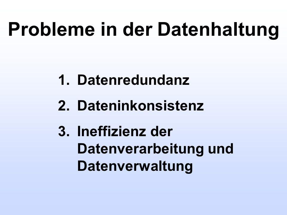 Probleme in der Datenhaltung 1.Datenredundanz 2.Dateninkonsistenz 3.Ineffizienz der Datenverarbeitung und Datenverwaltung