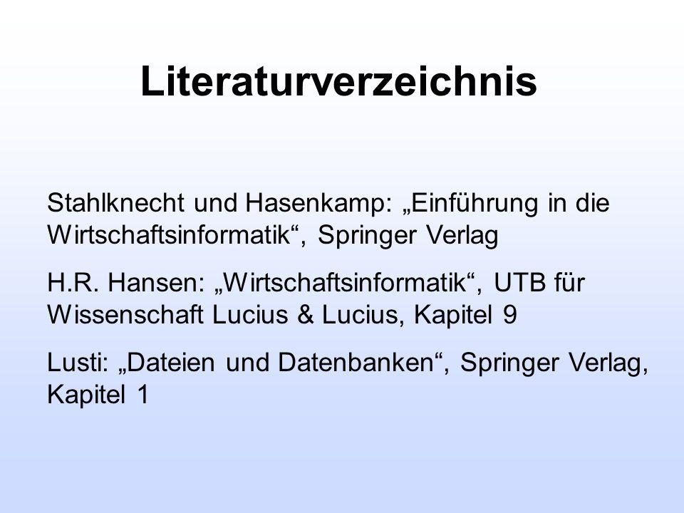 Literaturverzeichnis Stahlknecht und Hasenkamp: Einführung in die Wirtschaftsinformatik, Springer Verlag H.R. Hansen: Wirtschaftsinformatik, UTB für W