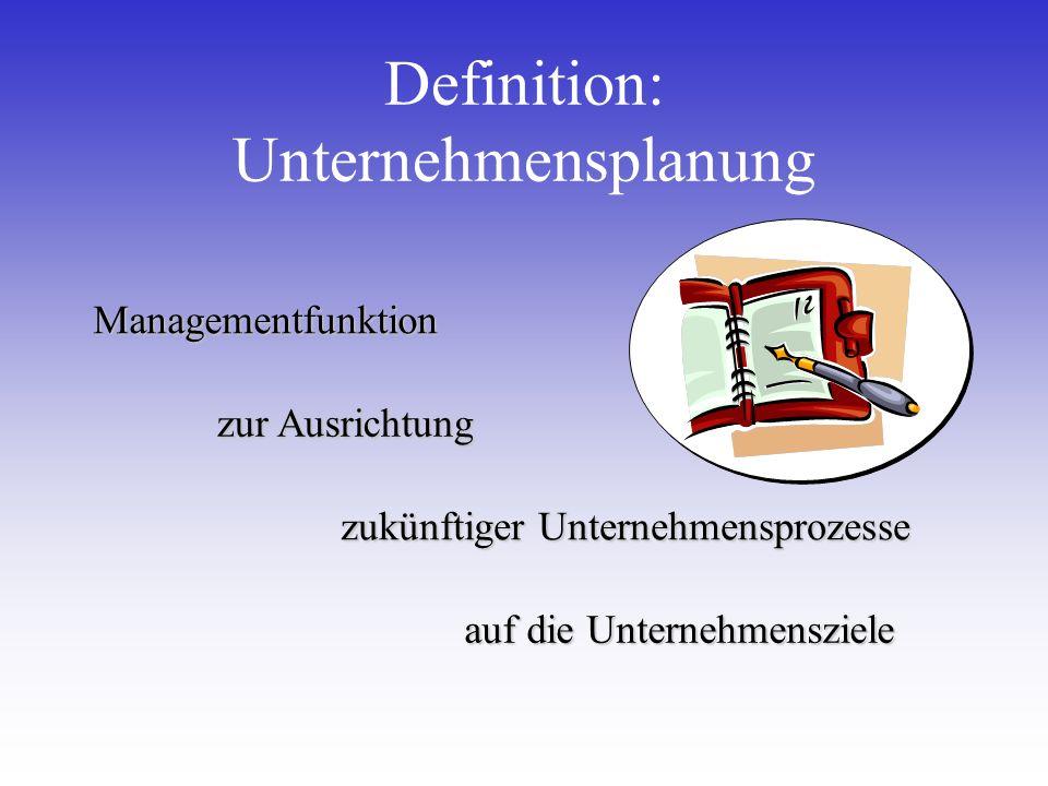 Definition: UnternehmensplanungManagementfunktion auf die Unternehmensziele zukünftiger Unternehmensprozesse zur Ausrichtung