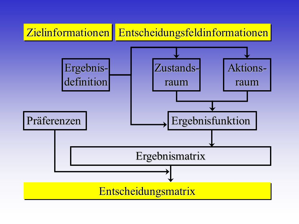 ZielinformationenZielinformationenEntscheidungsfeldinformationenEntscheidungsfeldinformationen EntscheidungsmatrixEntscheidungsmatrix Präferenzen Erge