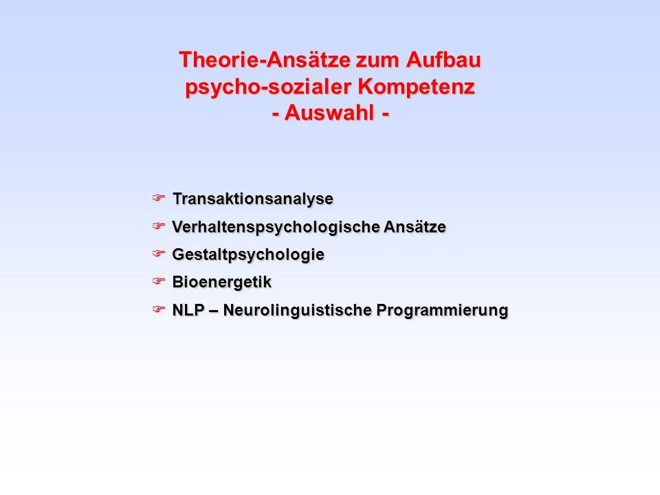 Theorie-Ansätze zum Aufbau psycho-sozialer Kompetenz - Auswahl - Transaktionsanalyse Transaktionsanalyse Verhaltenspsychologische Ansätze Verhaltensps