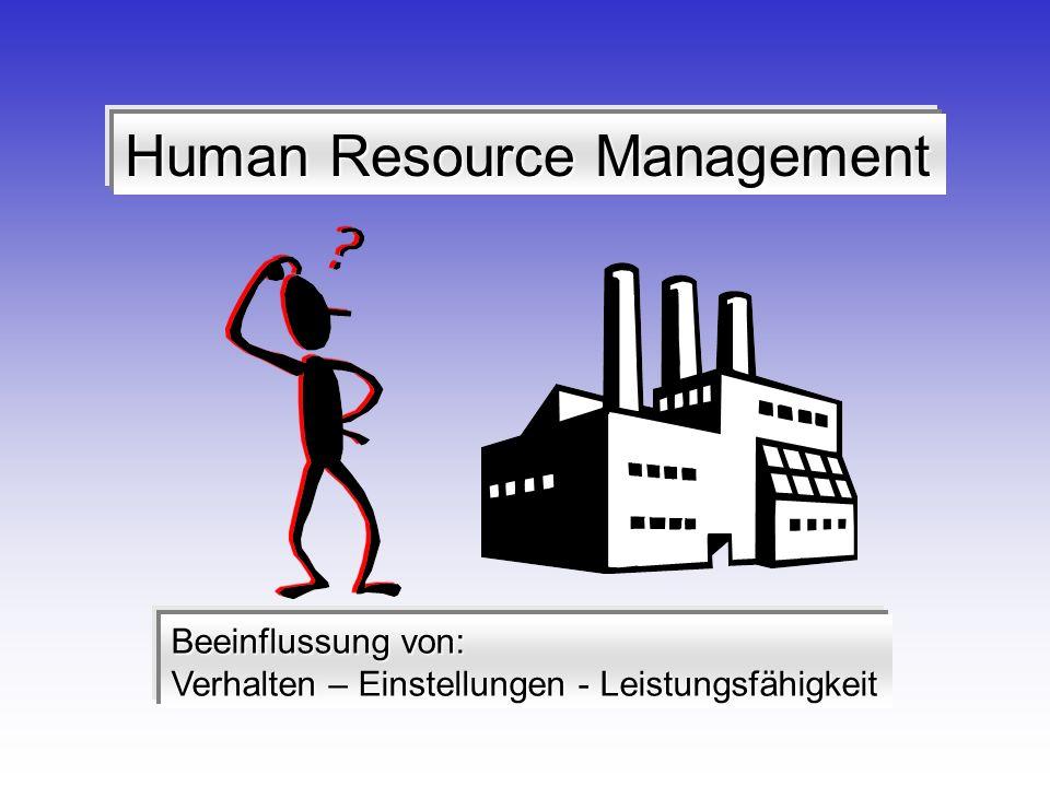 Human Resource Management Beeinflussung von: Verhalten – Einstellungen - Leistungsfähigkeit