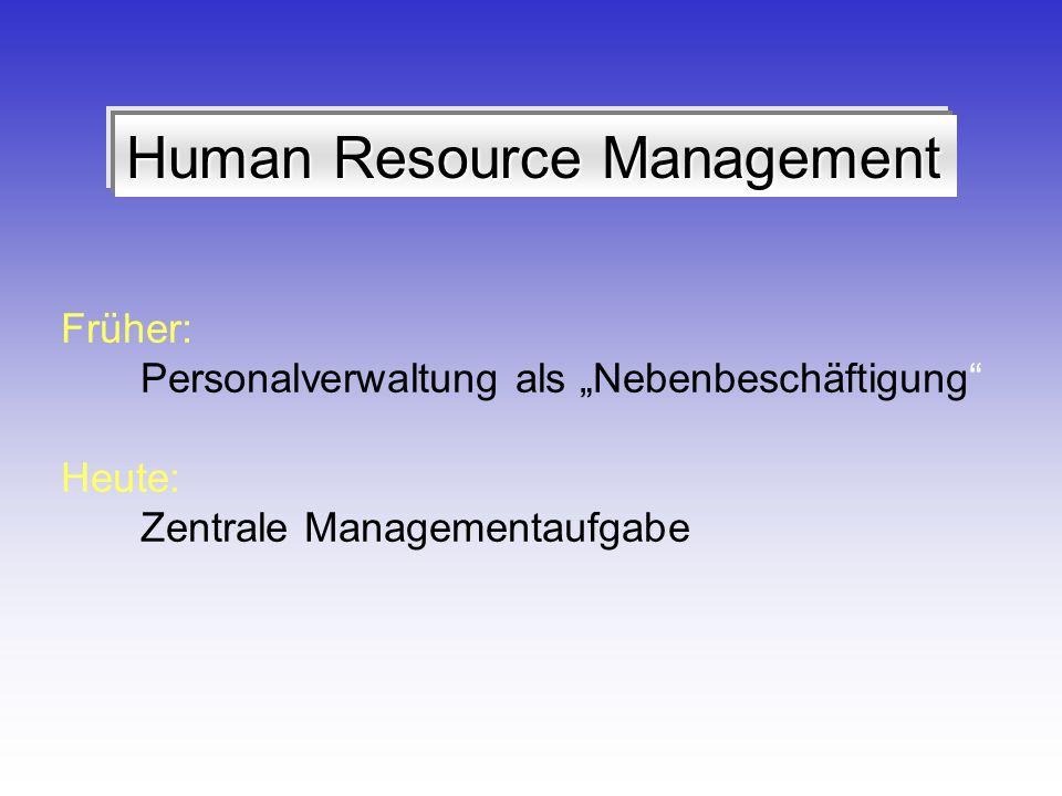 Human Resource Management Früher: Personalverwaltung als Nebenbeschäftigung Heute: Zentrale Managementaufgabe