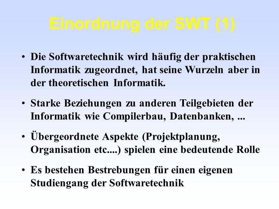 Praktische Informatik Theoretische Informatik Technische Informatik Software-Technik SW- Management SW- Entwicklung SW-Qualitäts- management Einordnung der SWT (2) Kerninformatik vgl.