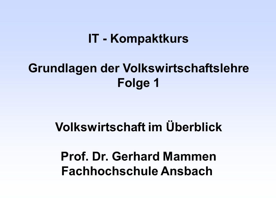 IT - Kompaktkurs Grundlagen der Volkswirtschaftslehre Folge 1 Volkswirtschaft im Überblick Prof. Dr. Gerhard Mammen Fachhochschule Ansbach