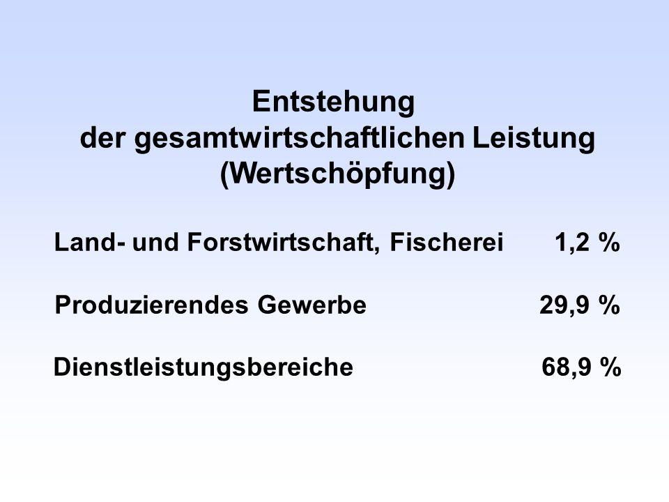 Entstehung der gesamtwirtschaftlichen Leistung (Wertschöpfung) Land- und Forstwirtschaft, Fischerei 1,2 % Produzierendes Gewerbe 29,9 % Dienstleistung