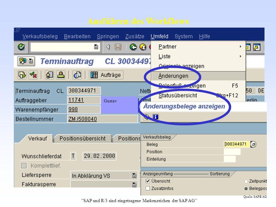 Ausführen des Workflows Gustav SAP und R/3 sind eingetragene Markenzeichen der SAP AG Quelle: SAP® AG
