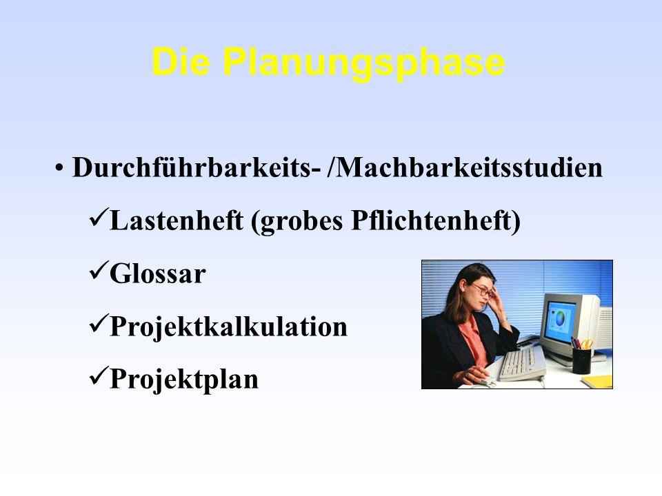 Die Planungsphase Durchführbarkeits- /Machbarkeitsstudien Lastenheft (grobes Pflichtenheft) Glossar Projektkalkulation Projektplan