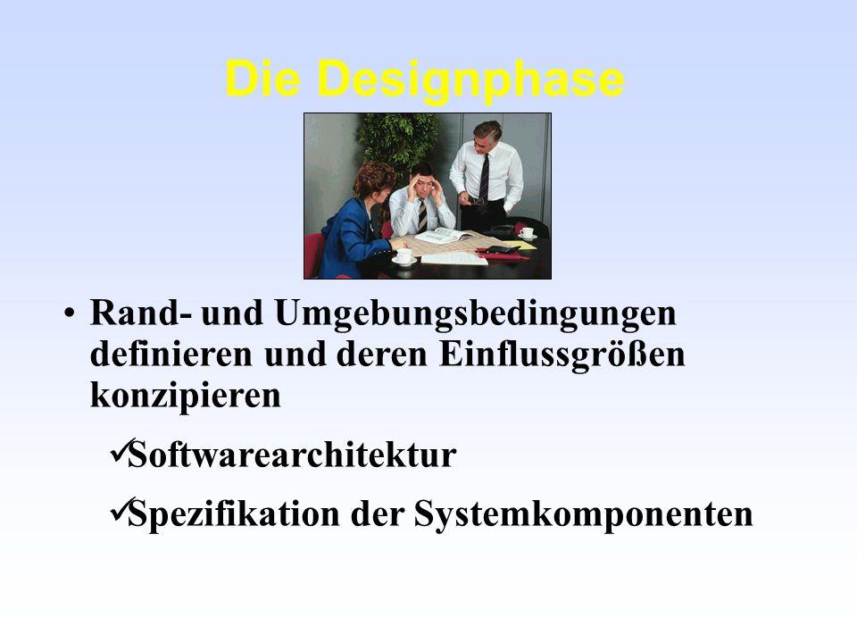 Die Designphase Rand- und Umgebungsbedingungen definieren und deren Einflussgrößen konzipieren Softwarearchitektur Spezifikation der Systemkomponenten