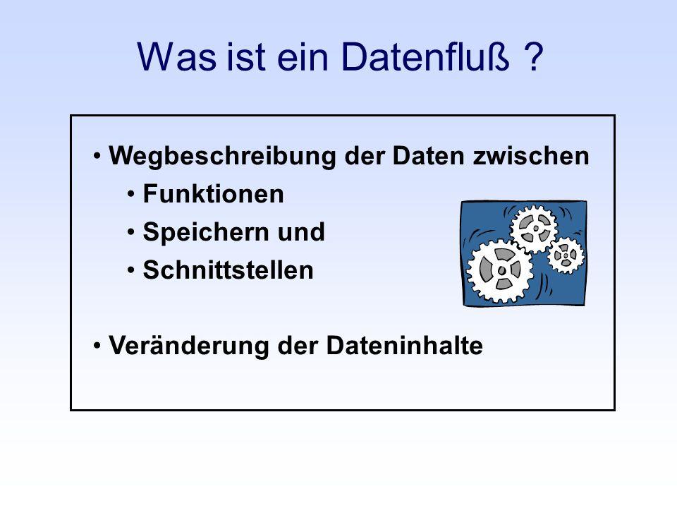 Was ist ein Datenfluß ? Wegbeschreibung der Daten zwischen Funktionen Speichern und Schnittstellen Veränderung der Dateninhalte