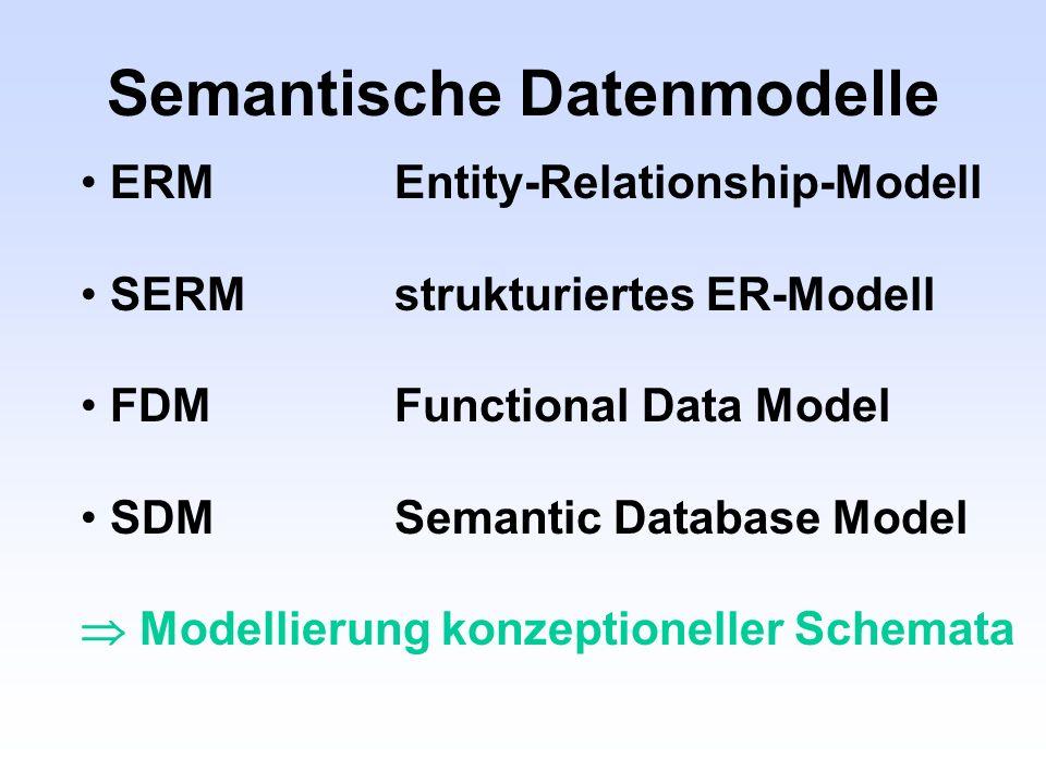 Semantische Datenmodelle ERMEntity-Relationship-Modell SERMstrukturiertes ER-Modell FDMFunctional Data Model SDMSemantic Database Model Modellierung k