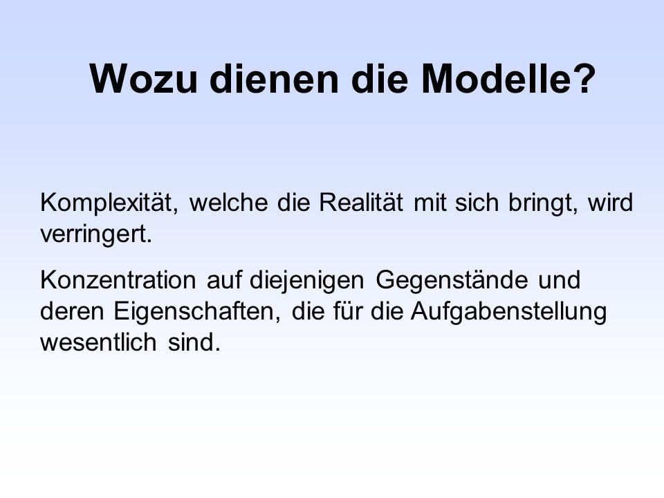 Wozu dienen die Modelle? Komplexität, welche die Realität mit sich bringt, wird verringert. Konzentration auf diejenigen Gegenstände und deren Eigensc