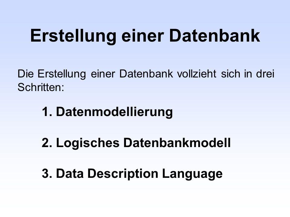 Erstellung einer Datenbank 1. Datenmodellierung 2. Logisches Datenbankmodell 3. Data Description Language Die Erstellung einer Datenbank vollzieht sic