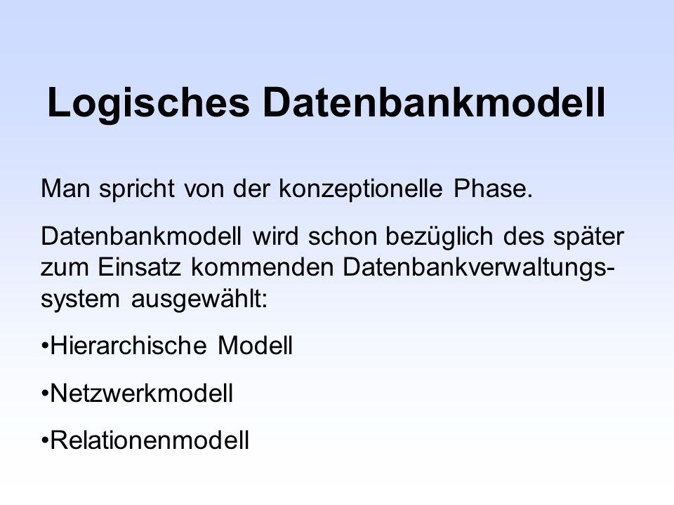 Logisches Datenbankmodell Man spricht von der konzeptionelle Phase. Datenbankmodell wird schon bezüglich des später zum Einsatz kommenden Datenbankver