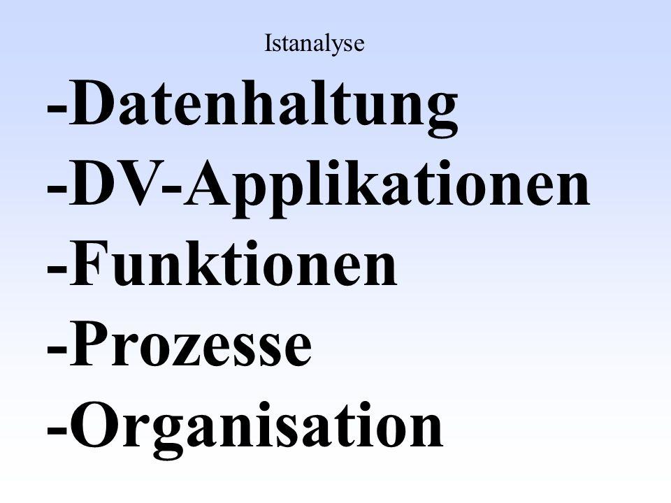 -Datenhaltung -DV-Applikationen -Funktionen -Prozesse -Organisation Sollanalyse