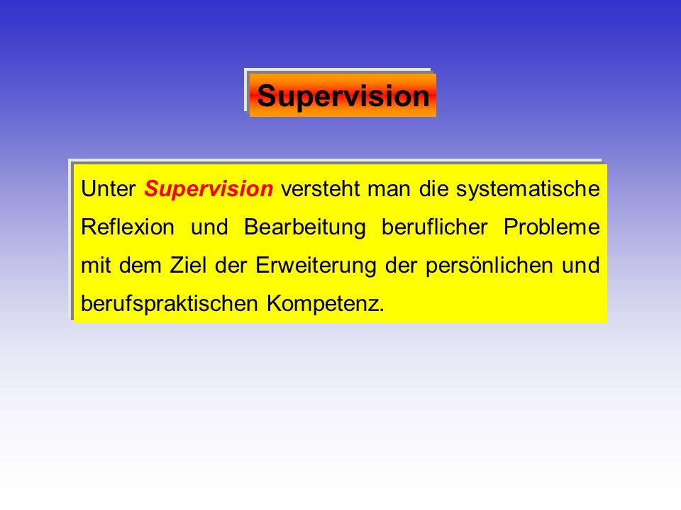 Unter Supervision versteht man die systematische Reflexion und Bearbeitung beruflicher Probleme mit dem Ziel der Erweiterung der persönlichen und beru