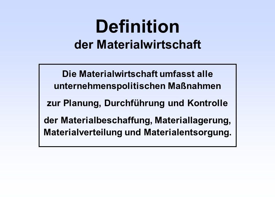 Definition der Materialwirtschaft Die Materialwirtschaft umfasst alle unternehmenspolitischen Maßnahmen zur Planung, Durchführung und Kontrolle der Ma