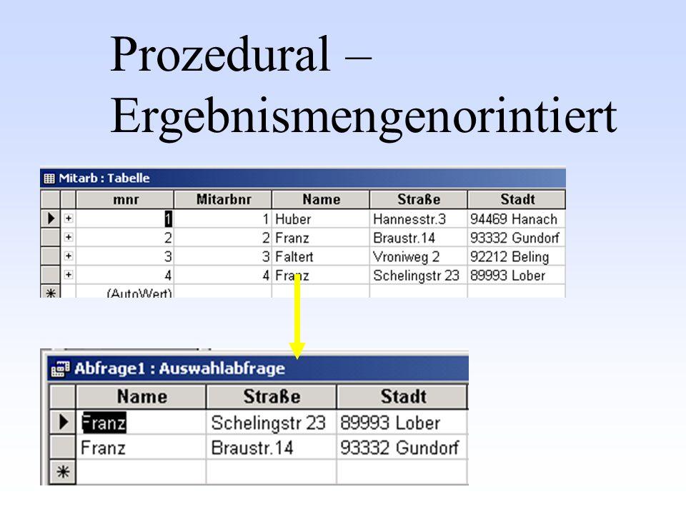 Prozedural – Ergebnismengenorintiert