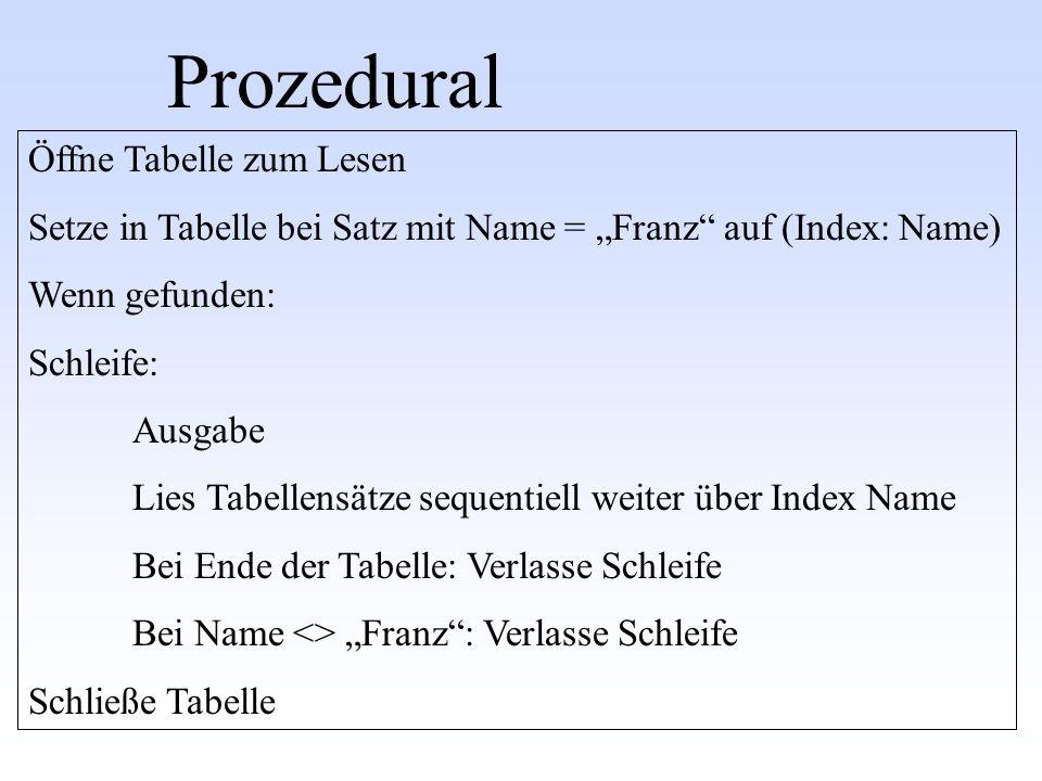 Prozedural Öffne Tabelle zum Lesen Setze in Tabelle bei Satz mit Name = Franz auf (Index: Name) Wenn gefunden: Schleife: Ausgabe Lies Tabellensätze se