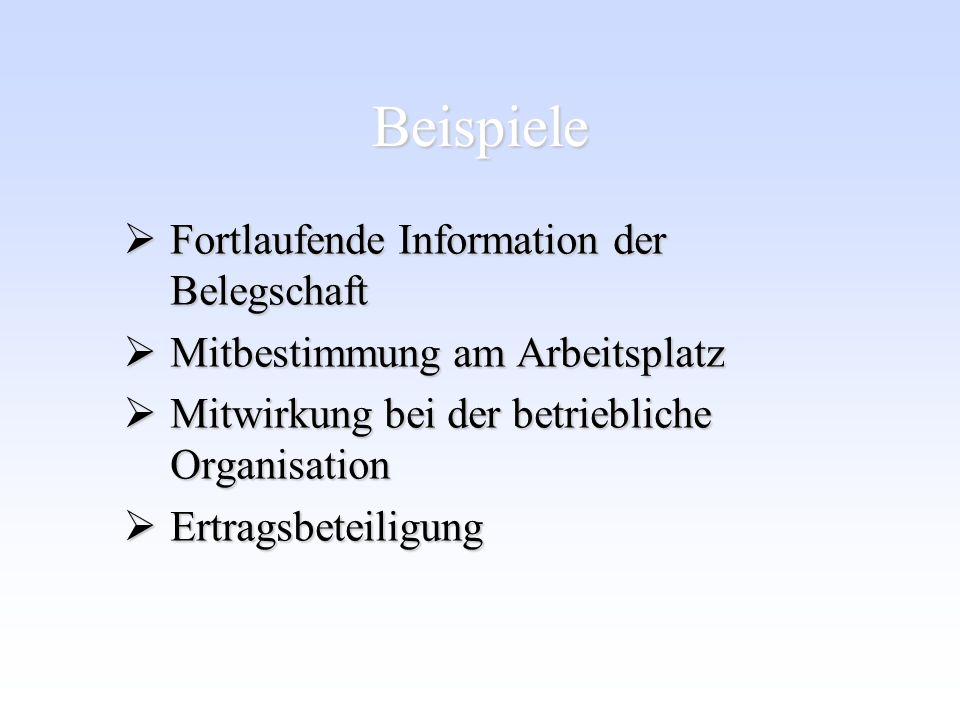 Beispiele Fortlaufende Information der Belegschaft Fortlaufende Information der Belegschaft Mitbestimmung am Arbeitsplatz Mitbestimmung am Arbeitsplat