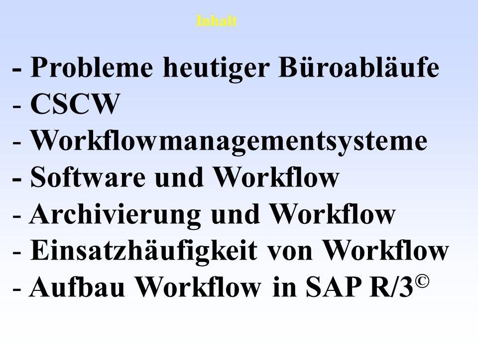 - Probleme heutiger Büroabläufe - CSCW - Workflowmanagementsysteme - Software und Workflow - Archivierung und Workflow - Einsatzhäufigkeit von Workflo
