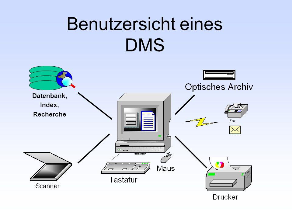 Benutzersicht eines DMS Datenbank, Index, Recherche