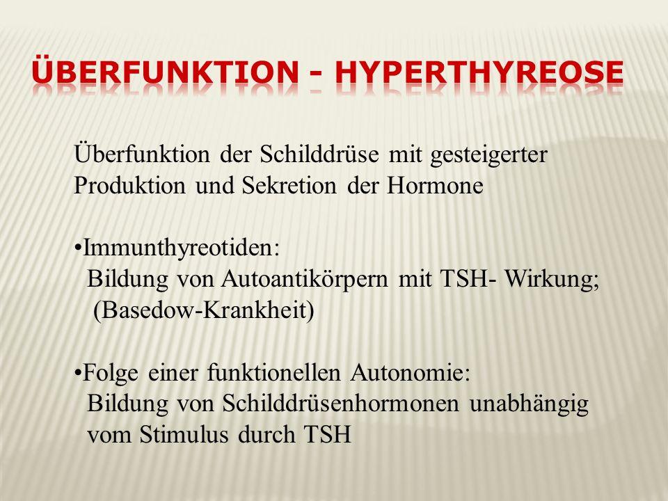 Überfunktion der Schilddrüse mit gesteigerter Produktion und Sekretion der Hormone Immunthyreotiden: Bildung von Autoantikörpern mit TSH- Wirkung; (Ba
