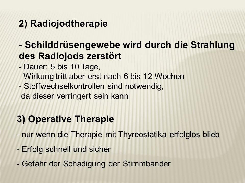2) Radiojodtherapie - Schilddrüsengewebe wird durch die Strahlung des Radiojods zerstört - Dauer: 5 bis 10 Tage, Wirkung tritt aber erst nach 6 bis 12
